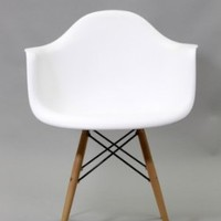 2xhome - White -  Eames Style Armchair Natural Wood Legs Eiffel Dining Room Chair - Lounge Chair Arm Chair Arms Chairs Seats Wooden Wood Leg Wire Leg Dowel Leg  Base Chrome Metal Eiffel Molded Plastic