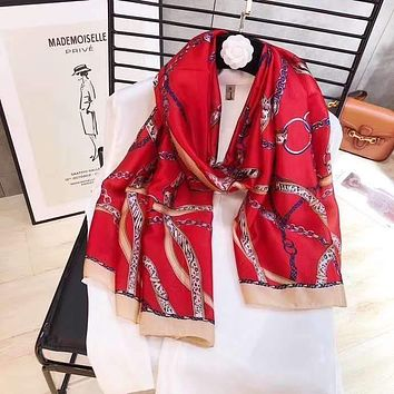 Spring Summer Women Temperament Fashion Double-Sided Letter Personality Print Spell Color Stripe Silk Scarf Shawl