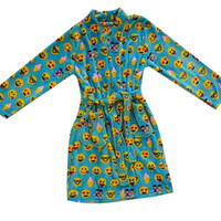 Candy Pink Girl's Soft Fleece Robe Turquoise Emoji