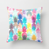 Hawaiian Pineapple Pattern Tropical Watercolor Throw Pillow by Girly Trend