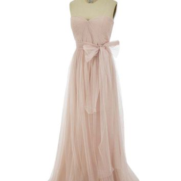 Champagne Tulle Sweetheart Style Formal Dress