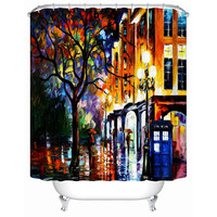 European-Style Painting Rainy Night City Waterproof Shower Curtain Bathroom Curtain Acceptable Personalized Custom Y-187