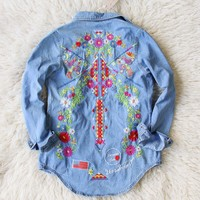 Wanderlust Embroidered Denim Top