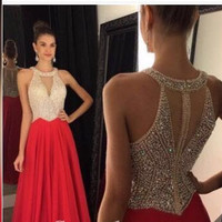 A-line Prom Dresses 2017 O-Neck Sleeveless Zipper Sweep Train Chiffon with Crystal Long Formal Gown Beaded 2016 Evening Dresses