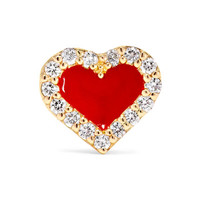 Alison Lou - Heart 14-karat gold, diamond and enamel earring