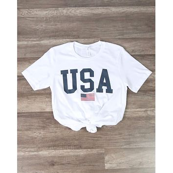 Distracted - USA Shirt Unisex Graphic Tee in White