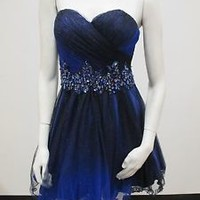 Beaded Strapless Sweetheart Ombre Glitter Mesh Prom/Homecoming/Party Dress