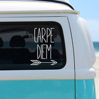 Carpe Diem Arrow Vinyl Window Decal - Car Sticker - Car Decal