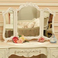 Shabby Trifold Vanity Rose Desktop Mirror - TABLETOP MIRRORS - HOME DECOR