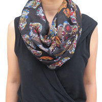 Day of the Dead Multicolored Sugar Skull Print Infinity Circle Women's Scarf Soft Lightweight for All Seasons