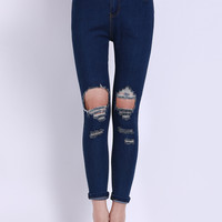 High Waist Ripped Denim Pants