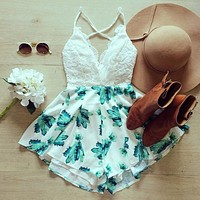 WHITE LACE BLUE PRINT DRESS