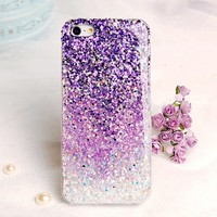 Dreamlike Ombre Purple Sparkling Handmade Case For iPhone 5/5S