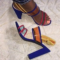 New High Heel Women's Sandals Sexy Women's Party Sandals Pvc Transparent Casual Square High Sandals