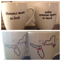 Long distance friendship mug set best friend mug set