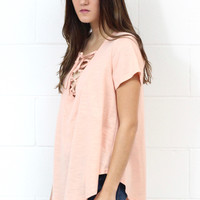 Relaxed Fit Lace Up V-neck {Blush}