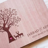 Custom Handmade Wooden Rustic Wedding Guest Book (Tree of Love)