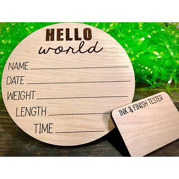 Baby Stats Sign, Baby Announcement, Hello World, Baby Photo Prop, Keepsake Nursery Sign, Baby Sign, Wood Nursery Sign, Wood Birth Stats Sign