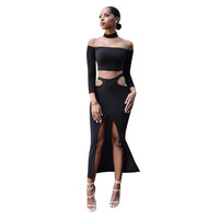 Off Shoulder Cutout Slit Two Pieces