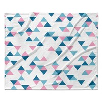 "Project M ""Triangles Pink"" Blush Blue Fleece Throw Blanket"