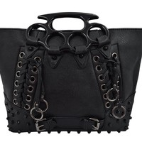 Goth Punk Rave Large Brass Knuckles Handles Black Tote Handbag
