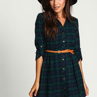 Green Flannel Belted Shirt Dress