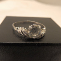 Size 10 Vintage Sterling Silver Topaz 1 Ct. Engagement Ring