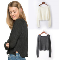 Cardigan Loose Pullover Round Necked Cardigan Coat Jacket Outerwear _ 9419