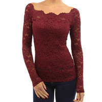 Long Sleeve Off-Shoulder Lace T-shirt