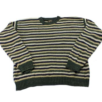 Vintage 90s Striped Cotton Blend Sweater in Beige/Green/Navy Mens Size Large