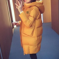 DCCK6HW Adidas' Women Simple Fashion Thickened Zip Cardigan Middle Long Section Long Sleeve Hooded  Cotton-padded Clothes Coat