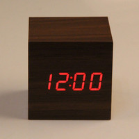 Wooden Cube LED Alarm Clock Sounds Control With Temperature Display Electronic Digital Desktop Table Clocks Red LED