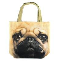 Pug Puppy Dog Face Print Hemp Fabric Tote Shopper Bag | Gifts for Dog Lovers
