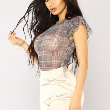 Book Smart Plaid Bodysuit - Black/Combo