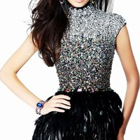 Cap Sleeved Feathered Dress by Sherri Hill