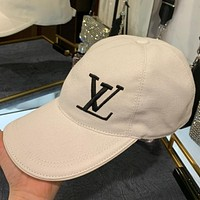 LV new canvas embroidered alphabet men and women baseball cap white