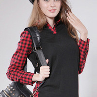 Red Patchwork Plaid Plus Size Top