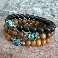 Confidence and Communication - Set Of 3 Mala Bracelets, Sandalwood, Ebony, Turquoise Guru Bead