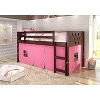 Bella Loft Bed with Pink Tent