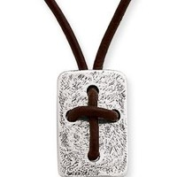 Leather Cross Shield Necklace | James Avery