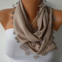 ON SALE - Beige Scarf  -  Pashmina Scarf  -  Cowl with Lace Edge