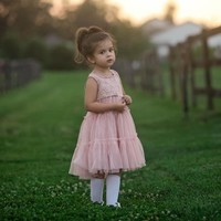 Charlotte Rose Pink Lace Tulle Tier Dress