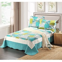 Tache Paisley Floral White Blue Green Scalloped Spring Pond Bedspread Set (SDB0)