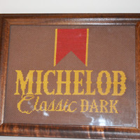 Vintage Needlepoint Michelob Beer Framed Wall Hanging Needlepoint Framed Picture Embroidery Beer Sign