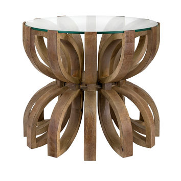 Living Room Ideas - Wood & Glass Lotus Accent Table  | Free Shipping