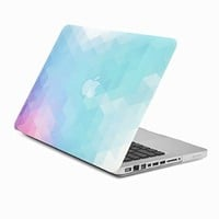 """Unik Case Purple Light Blue Gradient Ombre Triangular Galore Graphic Ultra Slim Light Weight Matte Rubberized Hard Case Cover for Macbook Pro 13"""" 13-inch (Model: A1278 /with or without Thunderbolt)"""