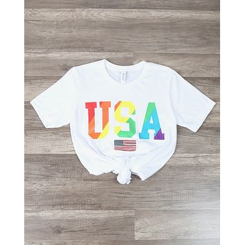 Distracted - Rainbow USA Shirt Unisex Graphic Tee in White