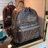 Onewel Fendi High-quality new double backpack adds fashion Coffee