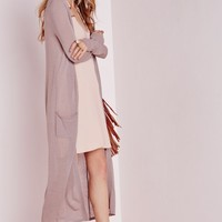 Missguided - Fine Knit Edge To Edge Longline Cardigan Taupe