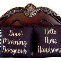 Good Morning Gorgeous Pillow Cover, Hello There Handsome Pillow Cover, Wedding Gift, Honeymoon Gift, Husband Gift, Wife Gift Bedroom Decor